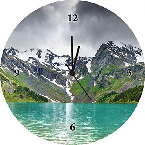 Artland Orologio da parete di alta qualità orologio silenzioso della Stampa Digitale su vetro Dmitry pichugin montagna lago montagne paesaggi Fotografia Verde 35x 35x 1,8cm