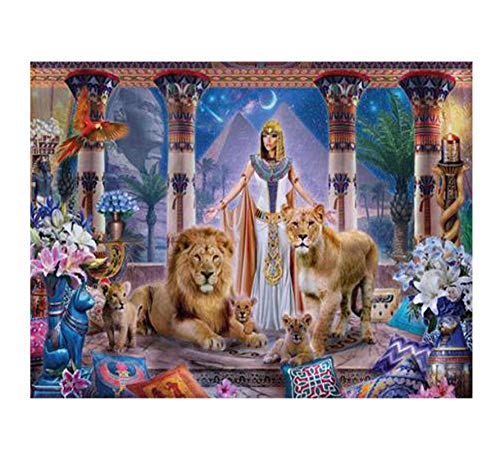 WHXJ DIY 5D Diamant Malerei Ägypten Queen Lion Mosaik Diamant Voller Diamanten Malerei Kreuzstich Kits Wohnkultur 60X70Cm - Queen-kit