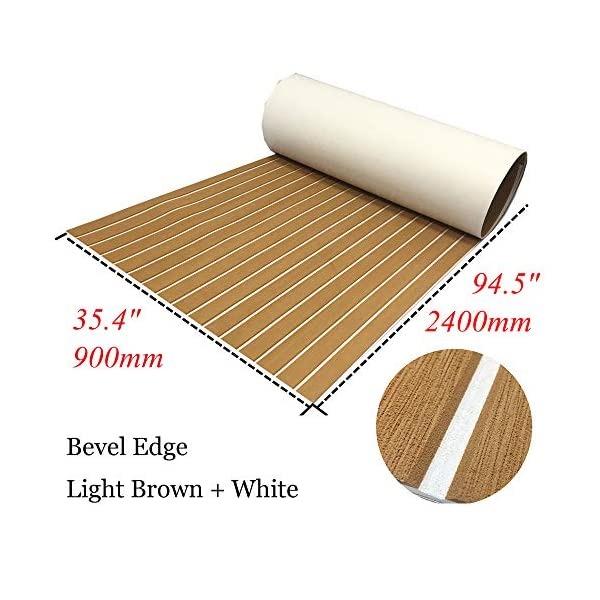 yuanjiasheng 90×240cm EVA Synthetic Boat Decking Sheet Yacht Marine Flooring Anti Slip Carpet With Backing Adhesive,Bevel Edge 2