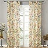 Top Finel Farbige Schmetterling Voile Gardinen Sheer Vorhang Panels für Küche Wohnzimmer Schlafzimmer, Tüllen, Panel,H×B: 160×140 cm