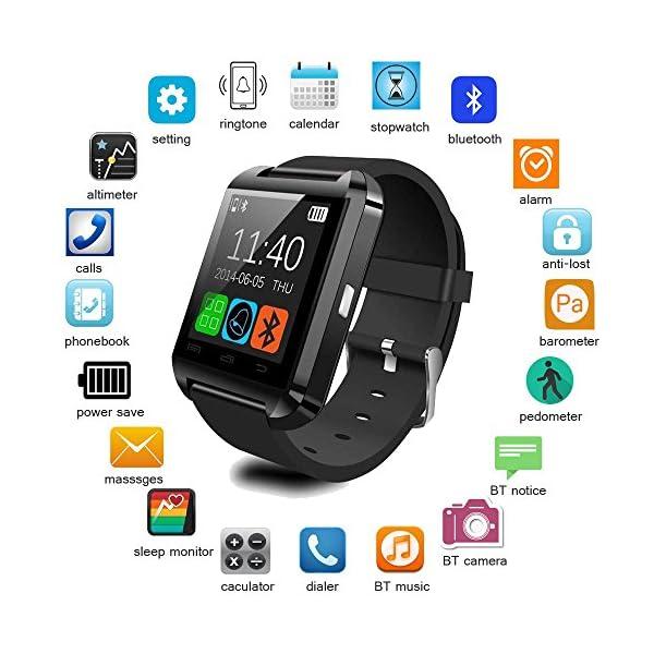Letopro Smartwatch Bluetooth Reloj Inteligente Android iOS, Smart Watch Teléfono Inteligente De Pulsera con Pódometro/Contador de Calorias, Fitness Tracker para ios android phone(Negro) 2