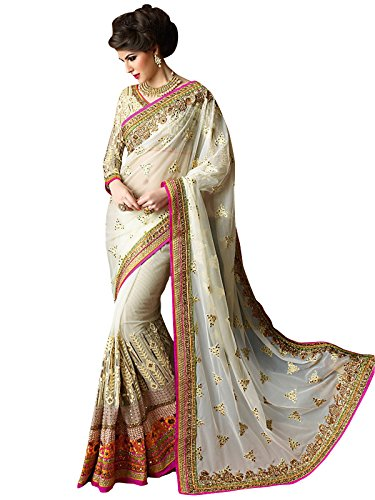 Party wear Off White Georgette& Net EMBROIDERY Saree With Blouse Pis