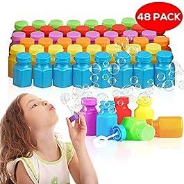 48 Mini Bolle di Sapone, 17ml| Piccolo Giocattolo per Bambini| Colori Vivaci, Non Tossici| Feste Compleanno Natale…