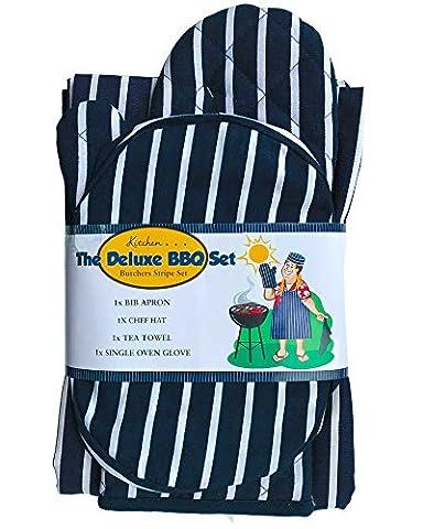 Lancashire Textiles 4pièces Deluxe de cuisine Boucher BBQ Barbecue griller de cuisine Ensemble de cuisson au four Gant de toilette Gant Tablier Bundle Lot d'accessoires