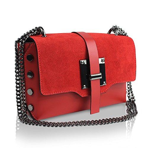 Gloop Damen Clutch echt Leder Tasche Abendtasche mit Kette Handtasche Umhängetasche Made in Italy 1.013.8 Rot