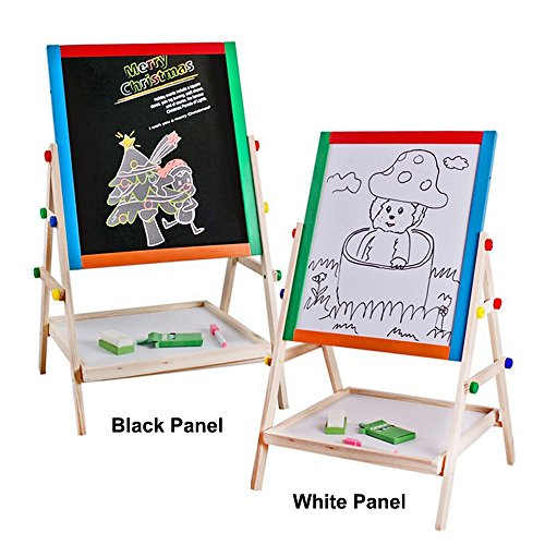 EZ Life Easel Board - Black & White Magnetic Board, Magnetic Alphabets & Numbers, Chalks, Duster Set - Wood