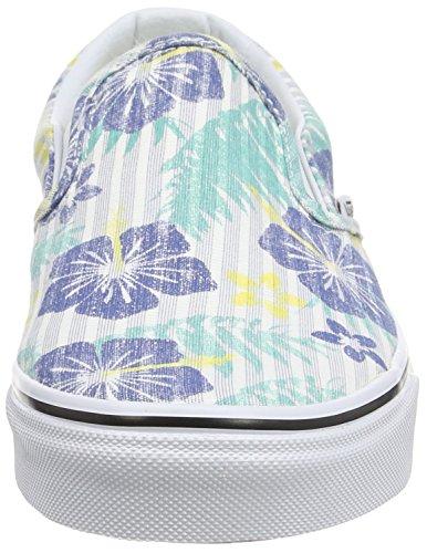Vans Classic Slip-on Scarpe da Ginnastica Basse, Unisex Adulto Multicolore (aloha Stripes/true Blue/true White)