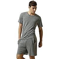 Green Field Mens Summer Cotton Striped Short Pyjama Sets Lounge Pyjamas Home Sleepwear (XXL)