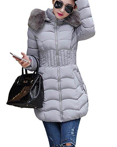 SaiDeng Damen Elegant Langarm Mantel Mittel Lang Mit Kunstpelzkapuze Outwear Wintermantel Jacke Parka