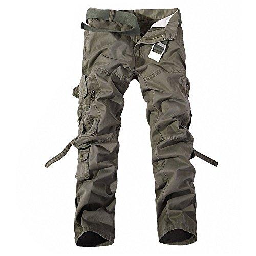 Minetom Herren Baumwoll Militärstil Lange Hose Latzhose Jogginghose Sporthose ohne Guertel ( Boden Armee grün 1 EU XS ) -
