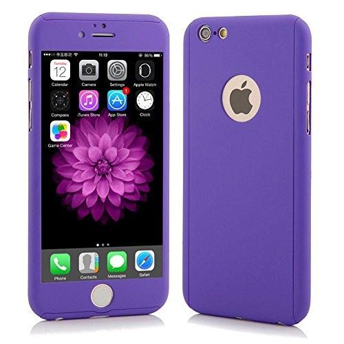 Full Cover 360° caso + temperato vetro di protezione Case Cover iPhone 5/5S Lila