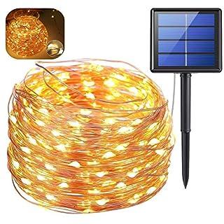 Solar Lichterkette, 200 LED 20 Meter Halloween Lichterkette (Warmweiß) Wasserdicht IP65 Lichtsensor Dekoration Schlafzimmer Solar Bewegungsmelder Außen LED Lichterkette