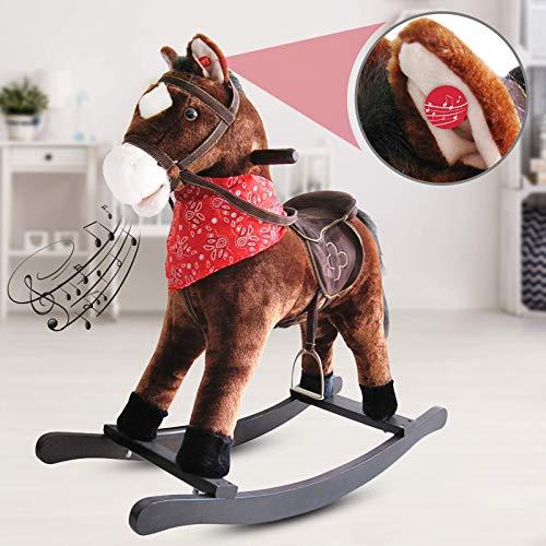 nova cavallo a dondolo peluche - effetti sonori, in legno e peluche, design a scelta, l/l/a: 74/30/64 cm, max. 20kg - cavallino per bambini, giocattolo a dondolo, rocking horse