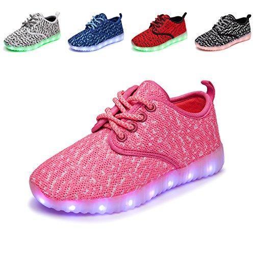 TULUO Kinder u. Jungen u. Mädchen LED-Schuhe USB-aufladenSneakers Kinder blinkende Trainers PinkWhite