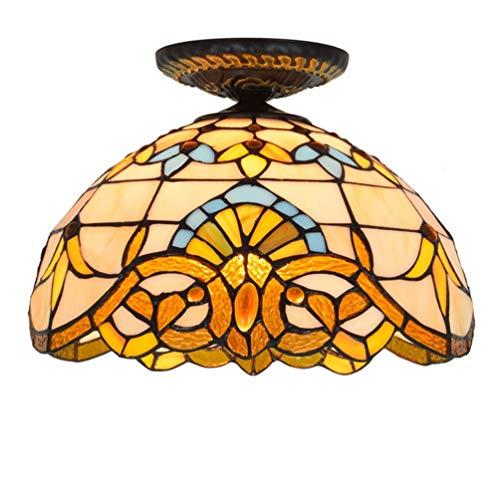XYQS Tiffany Stil Retro Europäischen Semi Flush Deckenleuchte Farbe Glas Barock Handgefertigte Lampenschirm Geeignet für Wohnzimmer Schlafzimmer Restaurant Bar Gang Korridor Coffee Shop (watt : 220V)
