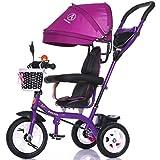 De luxe multifonction 4-en-1 Enfant Tricycle Vélo Vélo Fille Vélo de Fille pour 6 Mois -6 Ans Bébé Trolley Trois Roues Avec Auvent et Parent Poignée | Amortissement | Pneus en caoutchouc solide | Pneus en caoutchouc | Roue en plastique solide ( Couleur : Violet , taille : B )