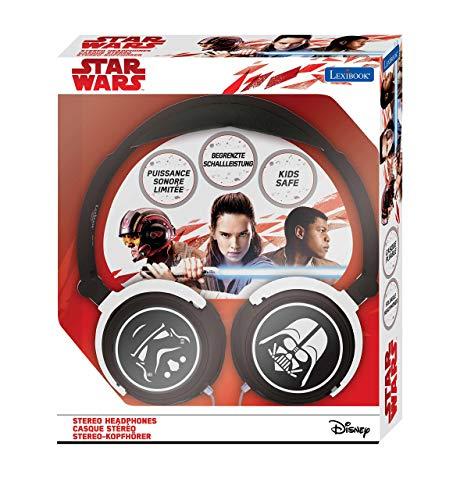 Lexibook HP015SW Star Wars Rey Poe Finn BB-8 Stereokopfhörer, kinderfreundliche Kraft, faltbar und einstellbar, schwarz / weiß