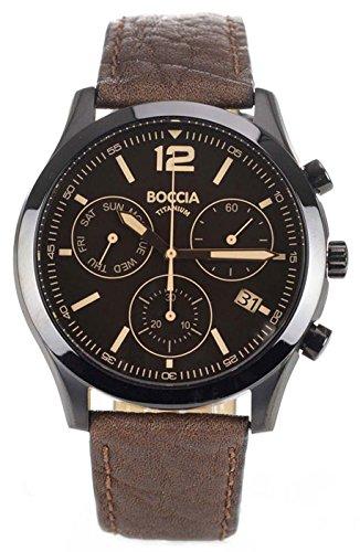 Boccia - 3757-02 - Montre Homme - Quartz - Chronographe - Bracelet cuir Marron