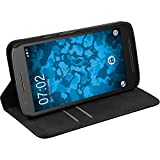 PhoneNatic Couverture en Cuir Artificiel Compatible avec Lenovo Moto E3 - Bookstyle Noir - Cover Cubierta + Films de Protection