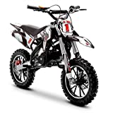 Funbikes Black Kids Dirt Bike - 50cc Childrens Petrol Motorbike Mini Motocross Scrambler