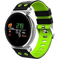 QHJ Bluetooth Smart reloj IP68 resistente al agua Fitness Tracker Tensiómetro Pulsómetro, ...