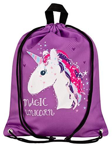 Aminata Kids Kinder-Turnbeutel für Mädchen mit Unicorn Sache-n Pferd-e Gym-Bag Sport-Beutel-Tasche lila, 34 x 43 cm - Pferde Schulter Tasche