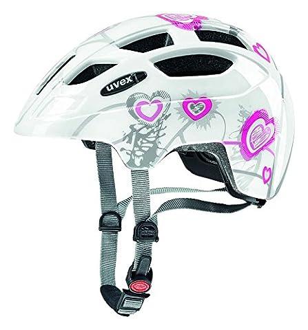 UVEX Kinder Finale Junior Mountainbikehelm, Heart White Pink, 51-55 cm