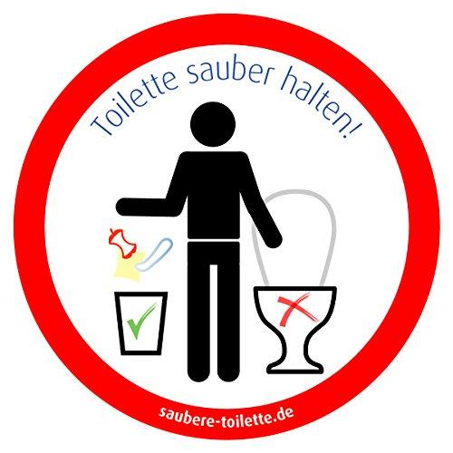 4x Toilette sauber halten (rund), Kein Müll in Toilette, Keine Abfälle in WC - Saubere-Toilette-Aufkleber für Camping (Wohnwagen, Wohnmobil, Caravan)