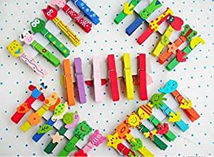 6 Pieces Cute Character Paper Binding Wooden Clips