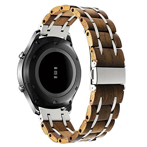 atibel mit Gear S3 Classic/Frontier Holz Armband, 22mm Natürliches Holz & Edelstahl Armband Quick Release Uhrenarmband für Samsung Gear S3 Frontier/Classic Smartwatch ()
