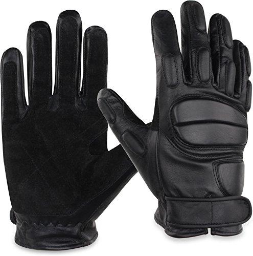 normani Leder-Handschuhe aus Rindsleder mit Kevlarfutter und Protektoren - Schnitthemmend, hohe Schlagkraft Größe XL (Wildleder-handschuhe Rindsleder)