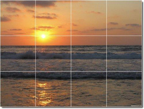 PUESTAS DE SOL FOTOS PARA AZULEJOS MURAL 22  24X 32CM CON (12) 8X 8AZULEJOS DE CERAMICA