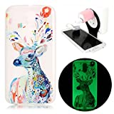 Moto G4 Night Luminous Case,Watercolor Deer Printing Pattern Soft TPU Case For Moto G4,Vandot Effect Fluorescent Glow In The Dark Transparent Anti-Scratch Slim Fit Protective Case For Motorola Moto G4+Phone Holder