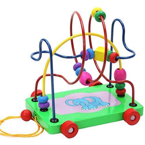 hibote Giocattolo educativo 1 Pz brillantemente colorato bambino cerchio di legno Bead Wire labirinto Roller Coaster Puzzle Conteggio del regalo di compleanno Frames bella di Natale per i più piccoli