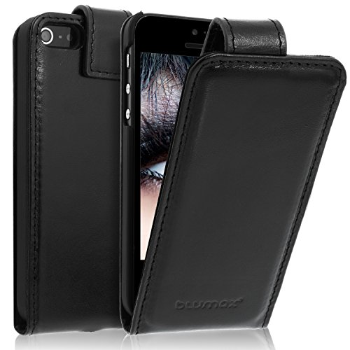 """Handyhülle Echt Leder für iPhone 5/5s/SE Leder Flip Case für das Original iPhone (4"""" Zoll) Luxusdesign Vintage Look Farbe Classic-Schwarz Lederetui"""