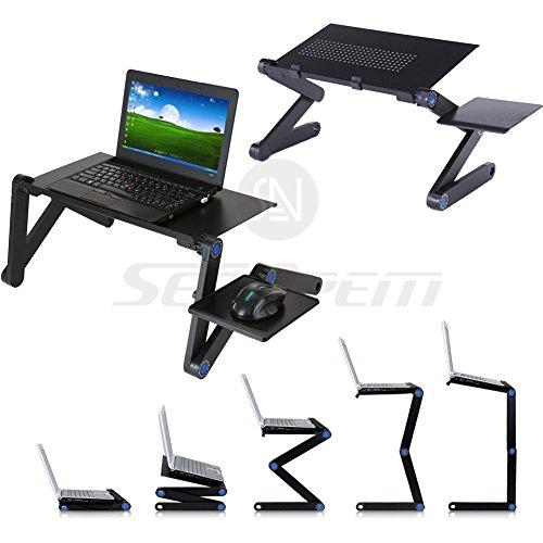 Preisvergleich Produktbild Laptop Bett Tablett Tisch W/Maus Pad, verstellbare Laptop-Ständer, tragbar stehend Schreibtisch, mit Faltbare Beine, zusammenklappbar Sofa Frühstückstisch, Notebook Ständer Lesen Halterung für Couch Boden Kids–Preis XES schwarz