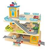 Leomark Garage In Legno Parcheggio a 3 Livelli Ascensore e Auto Per Elicotteri Stazione Garage 3 Piani Auto Macchinine Multipiano