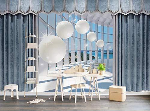 Glorious.Q 3D Fototapete Wandbild 3D Effekt 3D Tapeten Platz Für Vorhänge Im Ball-Stil Wohnzimmer Fernseher Sofa Hintergrund Tapete 366x254cm -