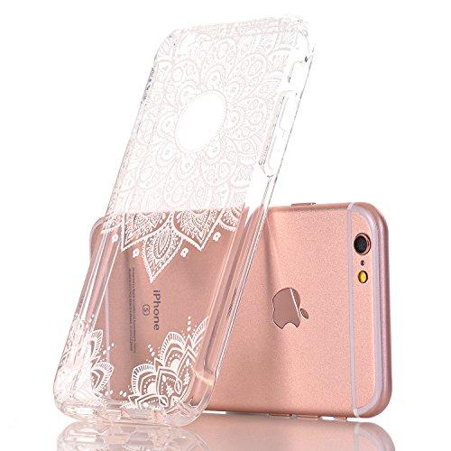 iPhone 7 hüllt, LUOLNH Weiß Henna Mandala Schlank Stoß- Klare weiche flexible TPU rückseitige transparent Abdeckung für Apple iPhone 7 [4,7 Zoll] White-B