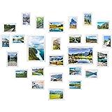 Yorbay Portafoto Multiplo da Parete Cornice per Foto in Legno Set di 26 Pezzi (Bianco)