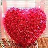 VIRSAA Soft 100 Red Roses Heart Shape Plush Pillow for Valentine, Girls Friend Love Gift (Multicolour)