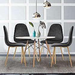 Set de 4sillas de comedor fanilife suave terciopelo tela asiento y respaldo sillas de salón de madera estilo patas metal salón cocina lado sillas
