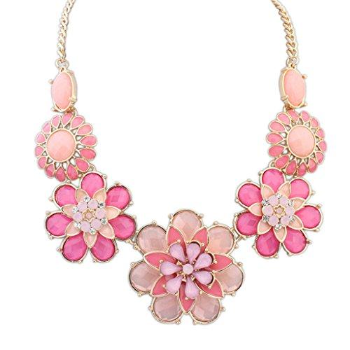 Epinki Damen Vergoldet Halskette, Damenkette Statementkette Choker Hawaiikette Blumen Rose (Tumblr Vampir Kostüm Mädchen)