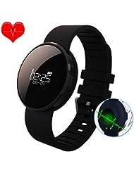 Fitness Tracker, Smart Watch Wasserdicht Aktivitätstracker Arbeit mit Blutdruckmessung und Pulsuhren Bluetooth uhr Wristband, Schrittzähler, Schlaf Monitor, Kalorienzähler, Herzfrequenz für iOS und Android Smartphones (Schwarz)