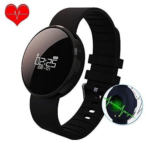 Fitness Tracker, Activity Tracker Bluetooth Smart Watch Armband Moniteurs de pression artérielle, moniteurs de fréquence cardiaque, podomètre, moniteurs de sommeil, réveils vibrants SMS SNS pour iOS et Android Smart Phone Cadeau