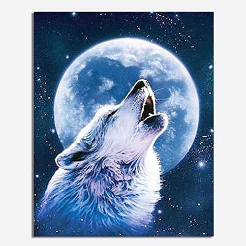 skwff 5d Diamant malerei Set DIY ,5D Diamond Painting Vollbohrer für Home Wand Decor gemälde Kreuzstich Moonlight Wolf Sleeve Schlafzimmer Round Diamond 46 * 56cm - Wand Sleeve Kit