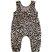 Vestidos Niñas Subfamily,Traje Infantil de Leopardo sin mangasVestido Princesa Floral Estampado Vintage Playa Junto