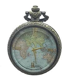 kelaina único Bronce Retro transparente patrón de mapa del mundo reloj de bolsillo con ...