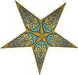 Guru-Shop Faltbarer Advents Leucht Papierstern, Weihnachtsstern Ganesha Yellow, 60x60x20 cm, Star Fensterdeko, 5 Spitzen