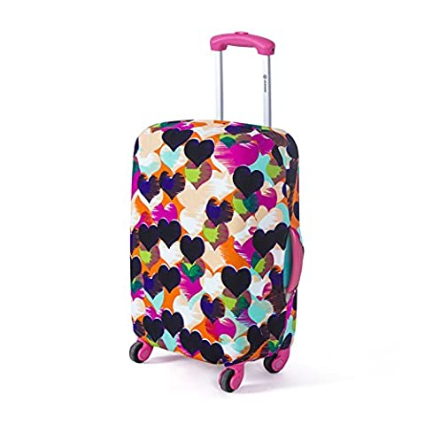 Housse de bagage Housse de Protection durable lavable Couverture Elastique protection de valise pour 18-28 pouces (M(22'') (Cœur d'amour (M))